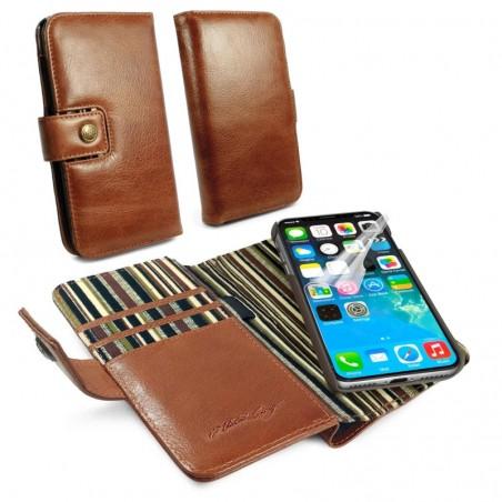 Alston Craig magnetische portemonnee lederen stijl case voor iPhone XS max - met RFID - bruin