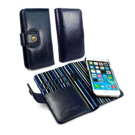 Alston Graig - Vintage Genuine Leren magnetische portemonnee, iPhone 8 plus - Navy blauw