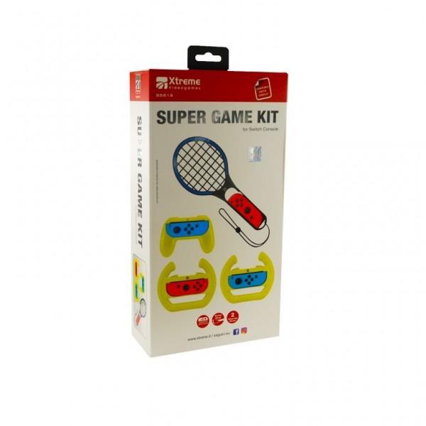Nintendow Switch super game kit set met controller grip, tennis racket en 2 racesturen