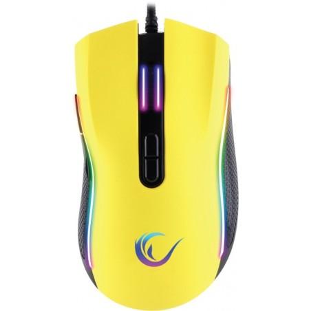 Rampage SMX- R44 macro RGB gaming muis - 6400 DPI - Geel