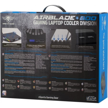 Spirit of Gamer Airblade 800 RGB Laptop cooling pad tot 17 inch