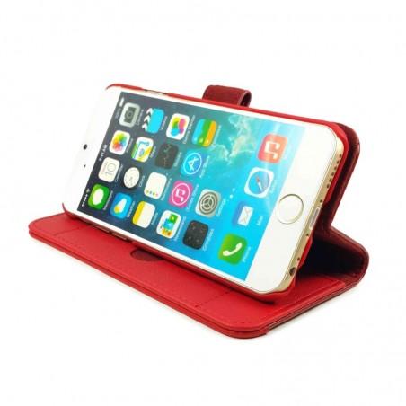 Tuff-Luv Lederen staande positie portemonnee hoes / scherm bescherming voor iPhone 6 / 6s Plus- Rood