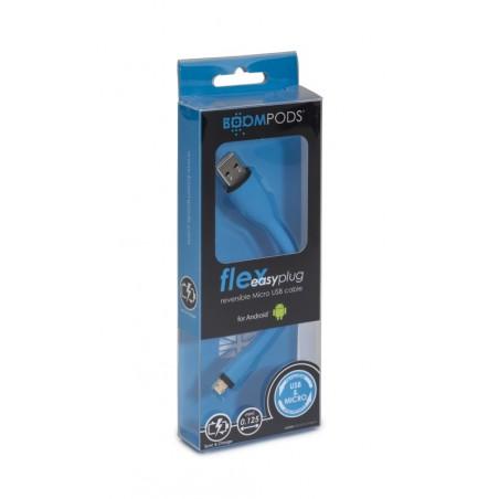 Boompods Flex MFi Lightning kabel (12,5cm) - Android – Blauw