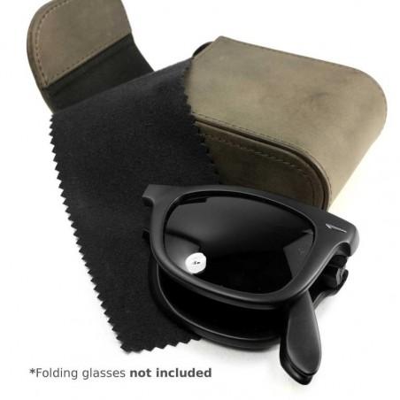 Tuff-Luv - Western Lederen zonnebrillen hoes met riem lus voor Ray-ban Wayfarer Folding - Bruin