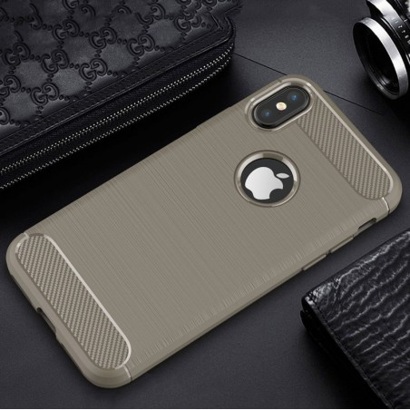 Tuff-luv - Carbon Fiber stijl TPU, Schockbestendige achterkant voor de Apple iPhone X case - grijs