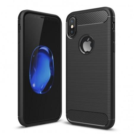 Tuff-luv - Carbon Fiber stijl TPU, Schockbestendige achterkant voor de Apple iPhone X case - zwart