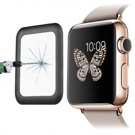 Tuff-Luv - Screenprotector voor Apple Watch 42 mm -  Gehard Tuff-glas(gebogen) - Zwart
