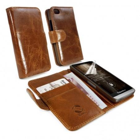 Tuff-Luv Vintage genuine leren portemonnee case cover voor Blackberry Z30 bruin