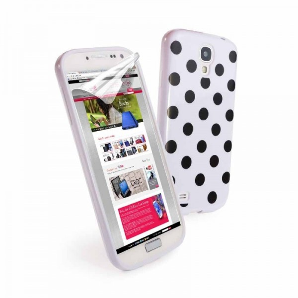 Tuff-Luv Gel 'Polka' case Samsung Galaxy S4 wit