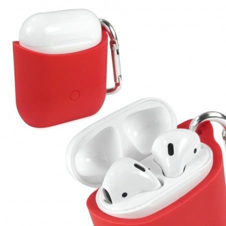 Tuff-luv - Siliconen hoesje voor de Apple airpods  headphones - rood