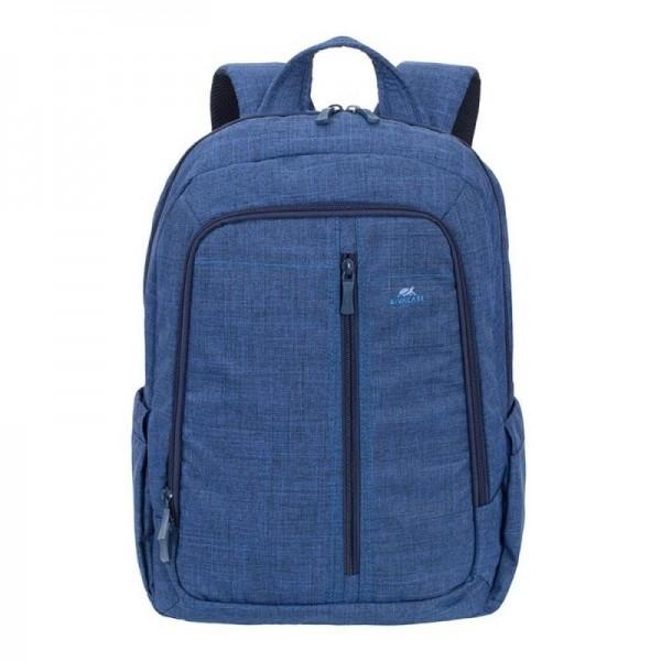 """RivaCase 15.6"""" blauw Canvas Laptop rugzak, extra vak tablet tot 10.1 met zijvakken voor waterflessen"""