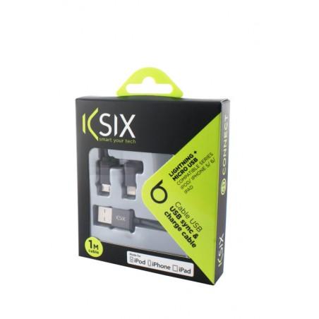 Ksix - OplaadKabel 2in1 met USB-Micro - metaalZwart