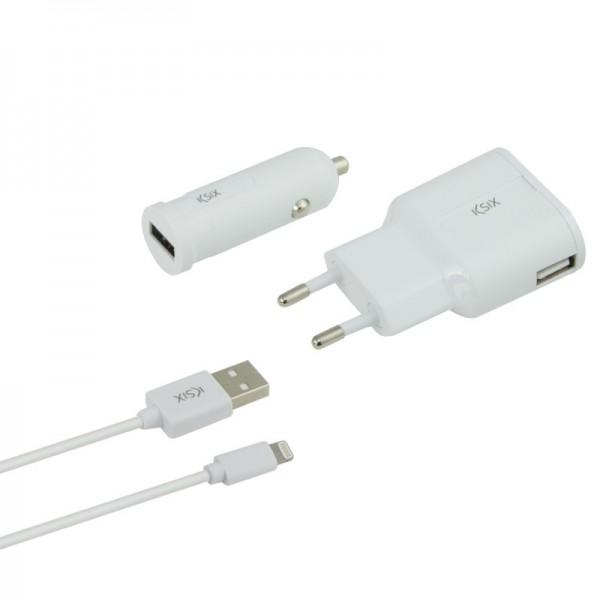 Ksix - Charge pack - Oplader, autolader en lightning-USB-Kabel - Wit