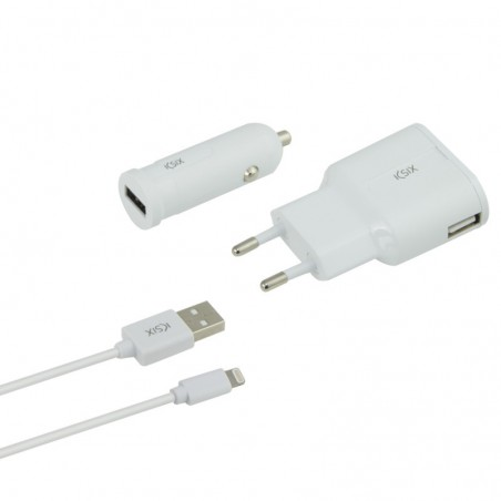 Ksix - Charge pack - Oplader, autolader en lightning-USB-Kabel - Wit