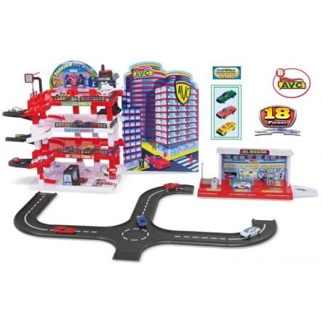 Pit-Stop Garage - Garage - Met Tankstation, Circuit, 3 Auto's en een Helikopter