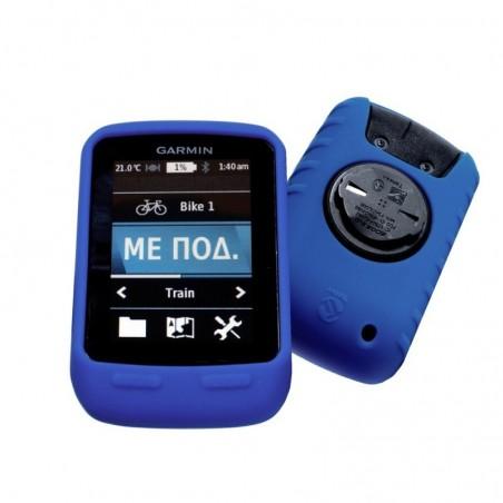 Tuff-Luv Silicone Gel bescherm hoes Garmin Edge touring /Edge touring Plus & screen protector Blauw