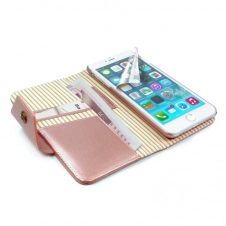 Alston Craig - Leren Flipcase, magnetisch telefoon hoesje, Apple Iphone 8 - Ros goud (Streep)