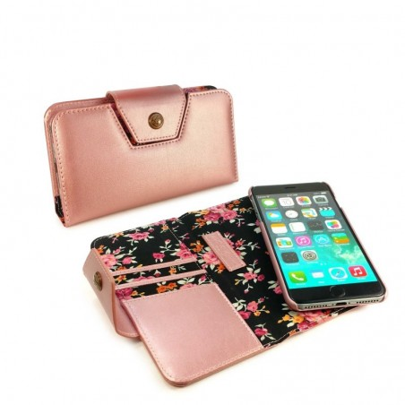 Alston Craig - Leren Flipcase, magnetisch telefoon hoes, Apple Iphone 8 - Ros goud (Secret garden)