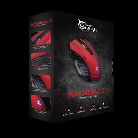 White Shark gaming muis GM-3006 Hannibal 2 rood -3200 dpi