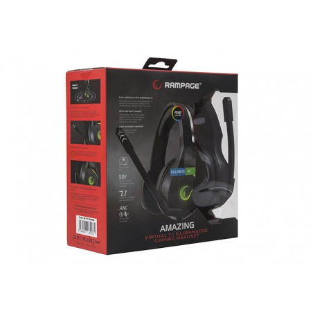 Rampage RM-K10 AMAZING RGB 7.1 Virtual Surround Gaming Headset USB - PS4 en PC