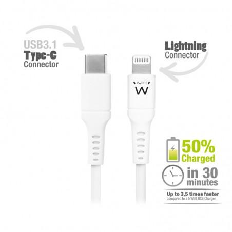 Ewent EW9915 Lightning-kabel 1 m Wit