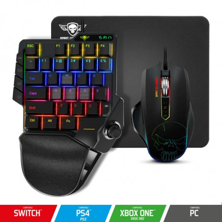 Spirit of Gamer XPERT-G900 3 in 1 RGB combo keypad muis en muismat voor PS4/Xboxone/Switch/PC - Zwart