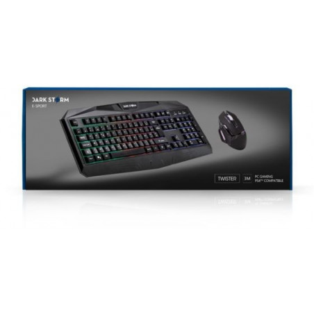 Under Control Dark Storm E-sport - Twister Gaming combo - Toetsenbord en muis Frans Azerty Lay-out met 6 kleuren verlichting - Z