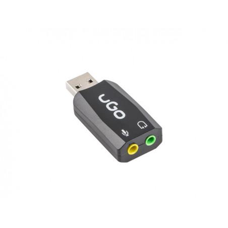 UGO UKD-1085 5.1 geluidskaart met 3.5mm jack naar USB - Zwart