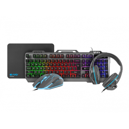 Fury Thunderjet 4 in 1 Gaming combo set inclusief Toetsenbord  Muis  Headset en muismat - US-Layout