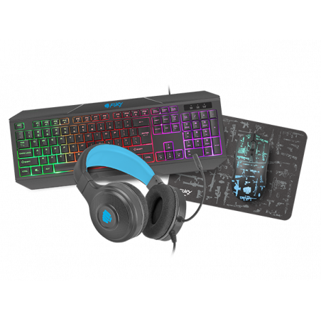 Fury Thunderstreak - 4 in 1 PC Gaming combo set V3 - Toetsenbord US layout - Headset - Muis en Muismat