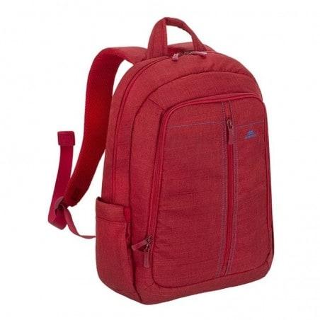 """RivaCase 15.6"""" Rode Canvas Laptop rugzak, extra vak tablet tot 10.1 met zijvakken voor waterflessen"""