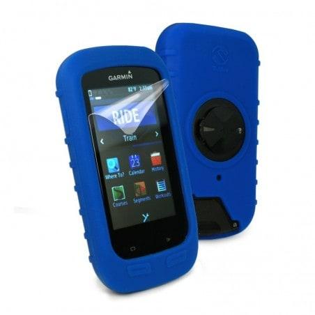 Tuff-Luv Silicone Gel bescherm hoes voor Garmin Edge 1000 en screen protector- Blauw