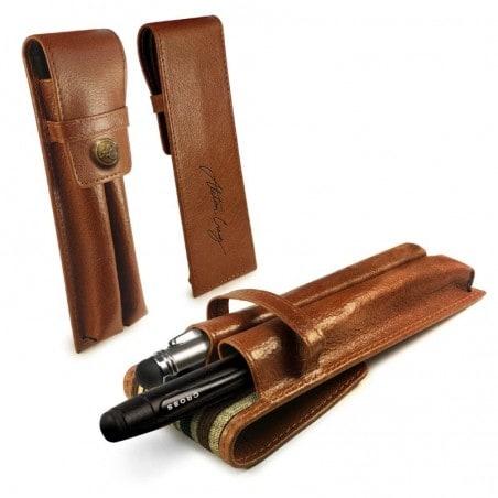 Alston Craig - Vintage Leren Executive Dual Penhouder / Pen Case - Geschikt voor de MontBlanc / Shea
