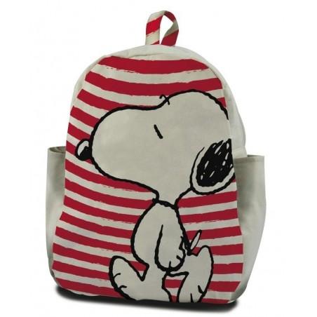 Snoopy - Rugzak - 30 cm hoog - wit met rood gestreept