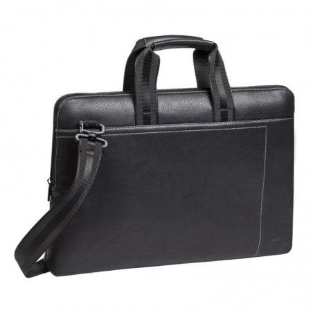 RivaCase - Laptop Schoudertas - 13.3 Inch - Extra vak voor 10.1 Inch tablet PU, leder look - Zwart