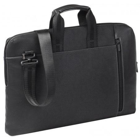 RivaCase - Laptop Schoudertas - 15.6 Inch - Extra vak voor 10.1 Inch tablet PU, leder look - Zwart