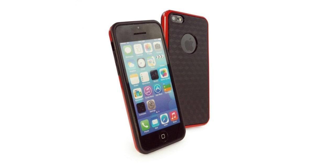 Tuff-Luv Cube TPU Gel case iPhone 5c rood/zwart