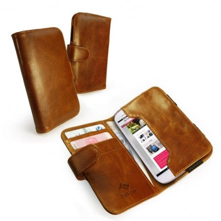 Vintage Leather Pouch Wallet Case Cover for Samsung Galaxy S2 S3 S4 - Brown (Free Screen Protector)