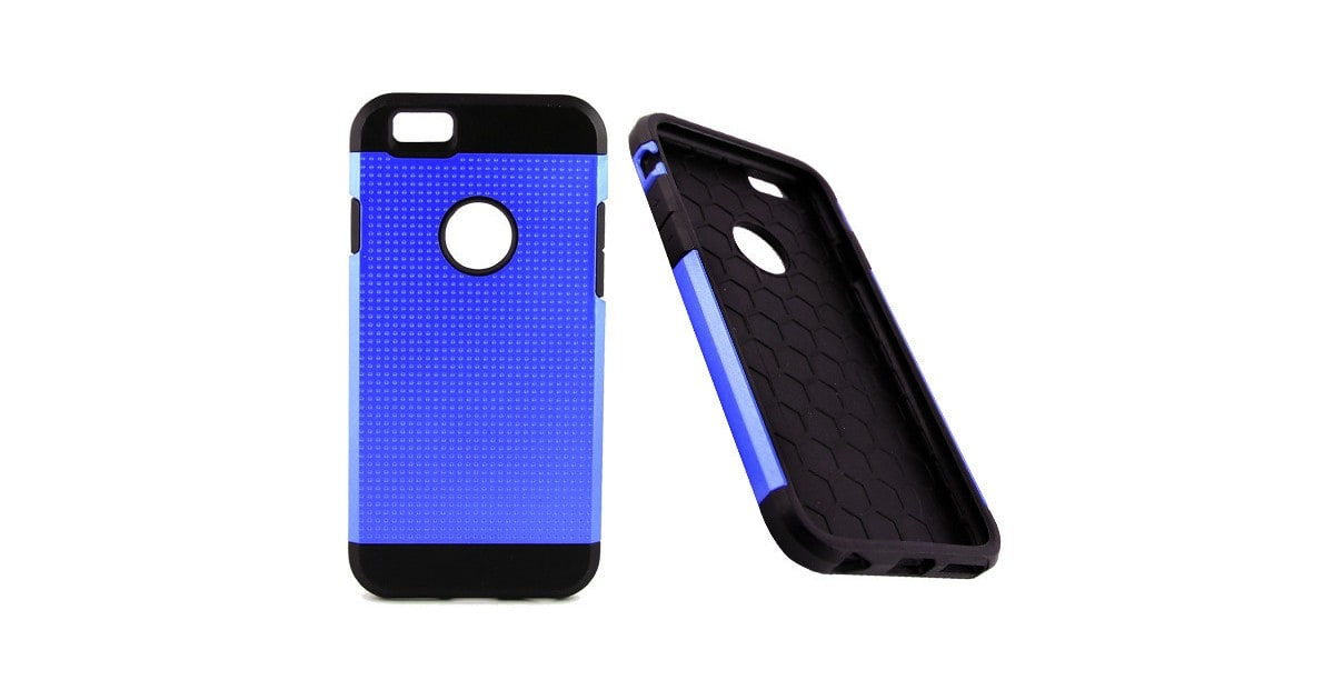 AA Iphone 6 (Blue) Slim Armored Tough Metallic Silicone Case
