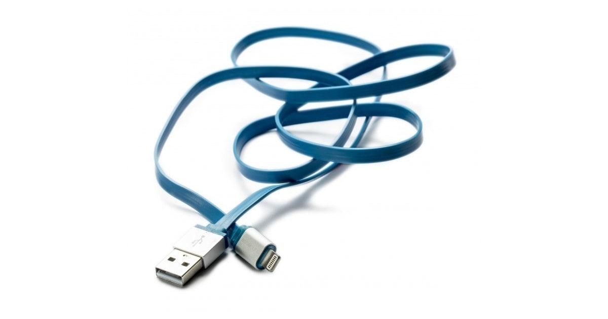 Boompods Platte Kabel Flatline (1 meter) - Micro USB voor Android - Blauw