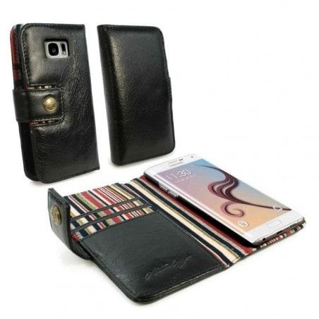 Alston Craig Vintage Genuine Leren RFID Portemonnee Case Cover voor Samsung Galaxy S6 Edge Zwart