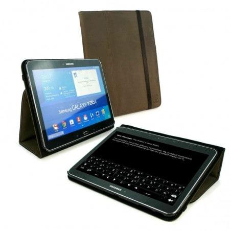 Tuff-Luv Westers Leren Hoesje Voor Samsung Galaxy Tab 4 Bruin 10.1''