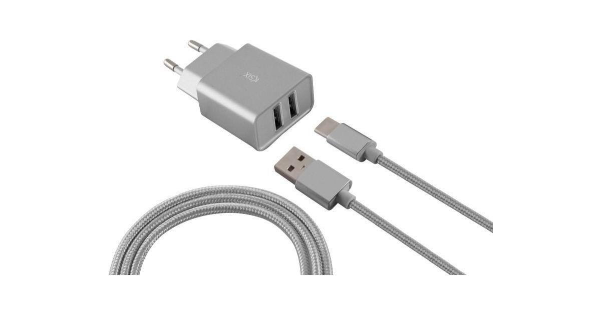 Ksix - Metalen Stopcontact met Micro USB Kabel - metaalzilver