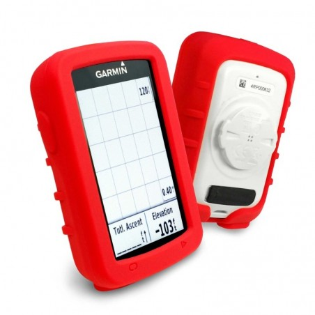 Tuff-Luv - Siliconen Gel Skin Case met Screenprotector - Voor de Garmin Edge Explore 820 - Rood