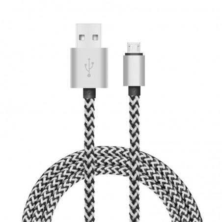 Tuff-Luv - Geweven USB kabel  3.1 Type-C naar USB Type-A Data & Oplaadkabel 1.2 meter - Zilver