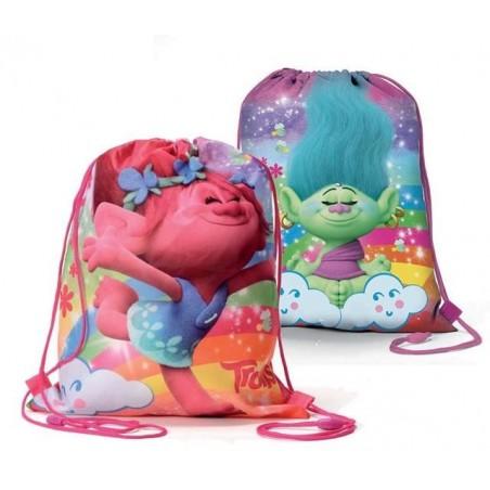 Trolls regenboog - trekkoordtas - gymtas - zwemtas - 39 cm hoog