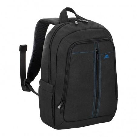 """RivaCase 15.6"""" Zwart Canvas Laptop rugzak, extra vak tablet tot 10.1 met zijvakken voor waterflessen"""