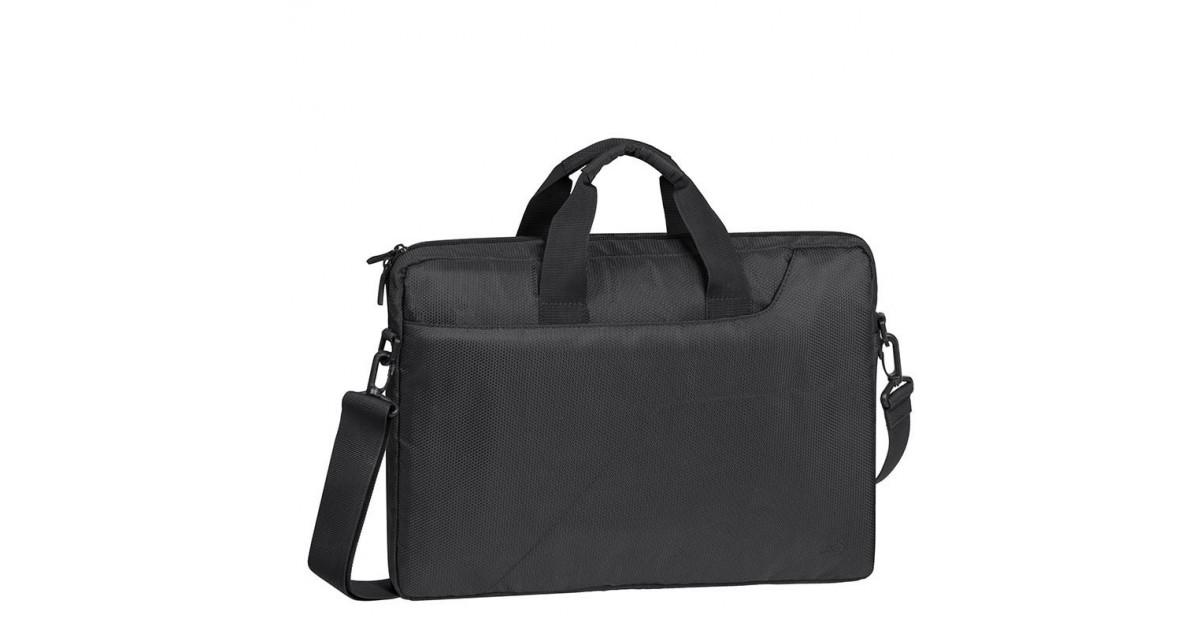 RivaCase Laptop Schoudertas - 15.6 Inch - Extra vak voor 10.1 Inch tablet - Zwart