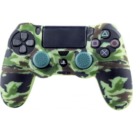 Playstation 4 - Siliconen controller skin inclusief thumbs grips - Camouflage