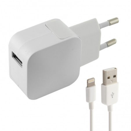 Ksix - Stopcontact met lightning USB-Kabel voor Iphone - Wit